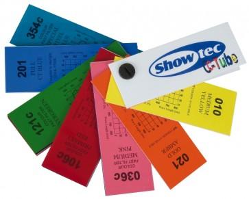 Farveprøver af Showtec farvefiltre til lysstofsrør