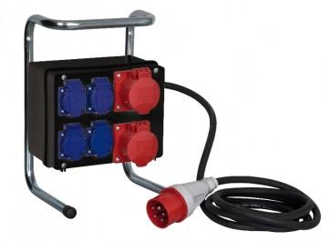 Breakoutbox CEE 400V 16A -> 2xCEE 400V og 4 schuko
