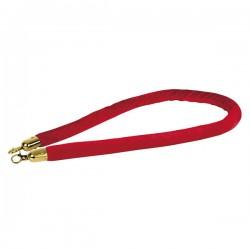 Afspærringsreb rød fløjl guld beslag 1,5m