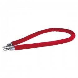 Afspærringsreb rød fløjl sølv beslag 1,5m