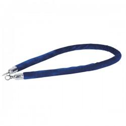 Afspærringsreb blå fløjl sølv beslag 1,5m