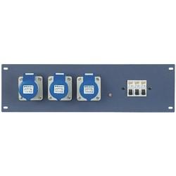 "19"" panel med 3 stk. 230V CEE og automatsikringer"