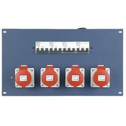 "19"" panel 4 stk. 400V 16A CEE og automatsikringer"