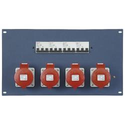 "19"" panel 4 stk. 400V 32A CEE og automatsikringer"