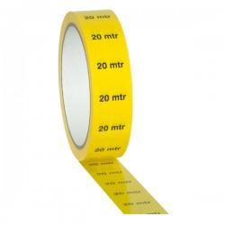 "Gul PVC tape på 25mm/33m - markeret med ""20M"""
