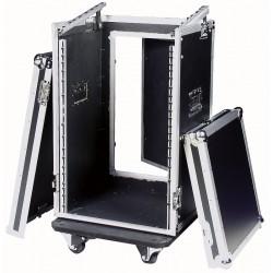 """19"""" Flightcase 16U høj med hjul + 10U topmontering"""