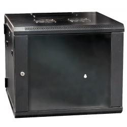 """19"""" Apparat-rack i 9U med glas i frontdør til væg"""