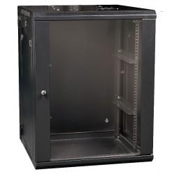 """19"""" Apparat-rack i 15U med glas i frontdør til væg"""