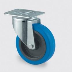 100 mm Blåt kvalitetshjul med drej - uden bremse