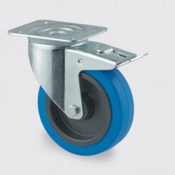 100 mm blå hjul med bremse