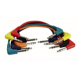 6 stk. stereo patch kabler vinkel stik - 90cm