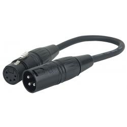 DMX adaptor 5 pol XLR hun -> 3 polet XLR han 25cm